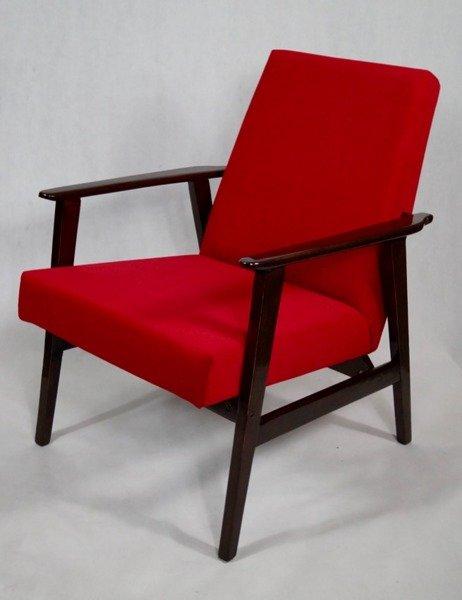 Fotel Klubowy Lata 70 Te Vintage Artdeco Tapicerka Czerwony Casablanca 2309 Konstrukcja Wenge Afrykański