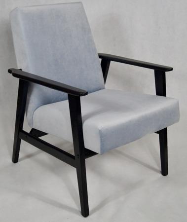 Fotel Klubowy Lata 70-te Vintage ArtDeco Tapicerka Błękitny Szary Pagani 15 Konstrukcja Grafit