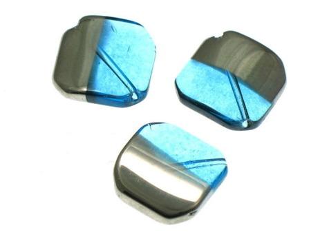 Koraliki Szklane w Ramce  Niebieskie 23x23mm 1szt