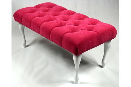 Ławeczka Pufka Pikowana Róż Styl Shabby Chic Vintage 80cm